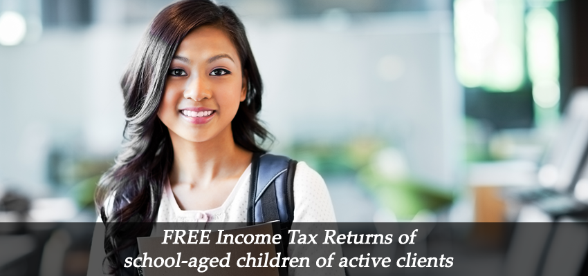FREE Income Tax Returns of school aged children of active clients